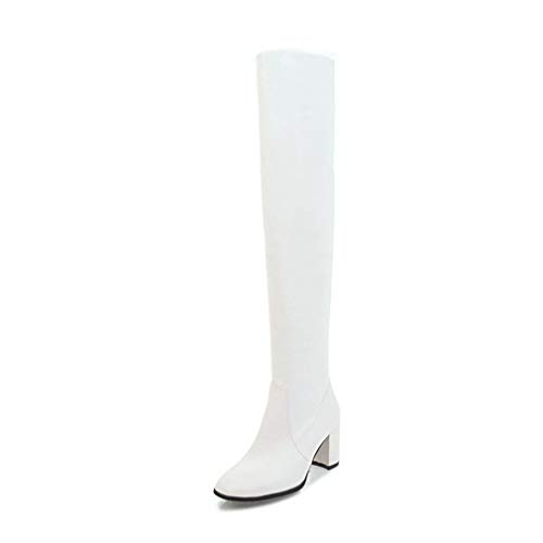 Fashion Winter Women's Over The Knee Boots Classic Pu Leather Square Toe Thigh High Heels Ladies Boots White