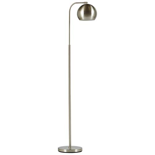 (Rivet Adjustable Arm Mid-Century Modern Living Room Standing Floor Lamp With Light Bulb - 10 x 17 x 59 Inches, Brushed Nickel)