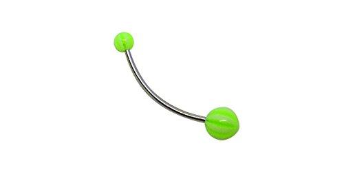 Bodyville Custom 14g STEEL CURVE Beach Ball UV GREEN Belly Navel Ring 1/4 to 1