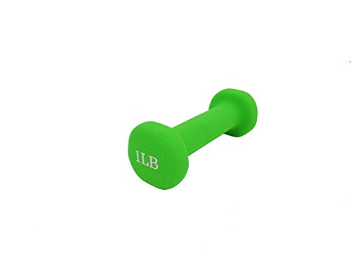 FixtureDisplays Neoprene Coated Dumbbell Weights 1 Pound, Single, Green 15207-1LB-1PC-2D