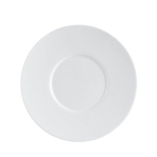 CAC China EVT-2 Elegant Everest Fully Glazed Porcelain Round Saucer, 6'' Diameter by 1/2'', Bone White (Box of 36) by CAC China