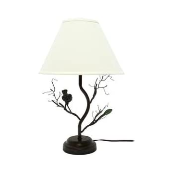 Cal lighting bo 2301tb 150 watt 3 way medora iron table lamp birds berries decorative metal table lamp mozeypictures Image collections