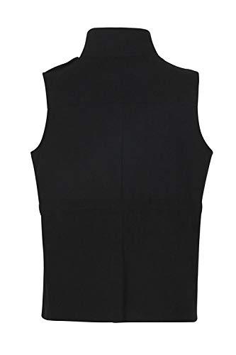 Black Con Giubbotto Panciotto Senza Yulinge Piena Le Maniche Tasca Outerwear Zip Donne B88Pwqaz