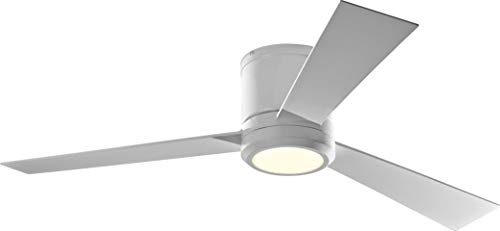 """Monte Carlo 3CLYR52RZWD-V1 Clarity 52"""" Hugger Fan with LED Light and Remote Control, 3 Blades, Matte White"""