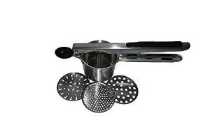 SSO Stainless Steel Potato Ricer & Baby Food Strainer, Super Quality Large Cup with Black Silicone Grips, Includes 3 Interchangeable Disks (Fine, Medium, Coarse), Durable & Dishwasher Safe ()