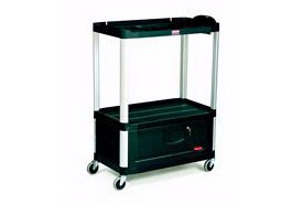 (Rubbermaid Commercial FG9T3400BLA Audio Visual Cart with 3 Shelves and Cabinet, 300 lbs Capacity, 36-1/2
