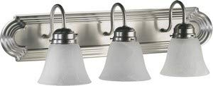 (Quorum International 5094-3-165 Vanity Lights with Alabaster Swirl Glass Shades, Satin Nickel)
