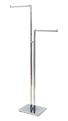 KC Store Fixtures 28201 2-Way Garment Rack with 2''-16'' Straight Arms, Square Tubing Frame/Arms, Chrome
