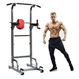 Power Tower Workout Dip Station, Adjustable Height Multi-Function Pull Up Bar Tower for Home Gym Strength Training Fitness Workout Station