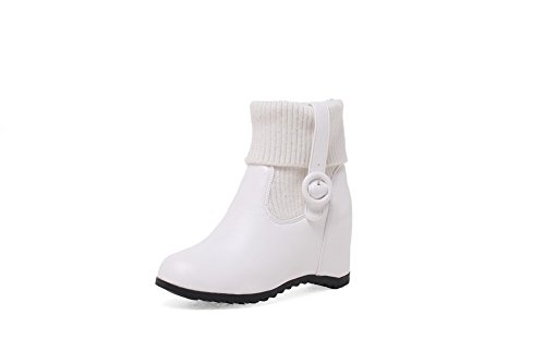BalaMasa Womens Casual Slip-Resistant Wedges Urethane Boots ABL10448 White