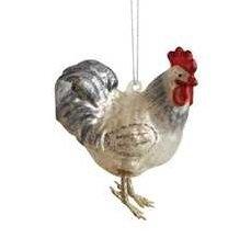 Glass Chicken Hen Rooster Farm Animal Bird Christmas Tree Ornament