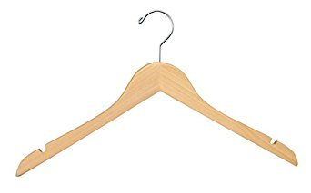 Econoco Flat Wooden Hanger with Chrome Hook, No Bar, 17