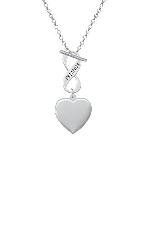 Silvertone Heart Locket Friends Infinity Toggle Chain Necklace