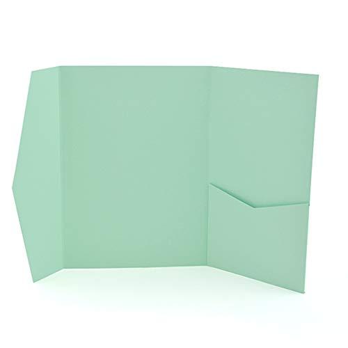 100 Pocket Fold Invitation Holder Wedding Supplies Dark Mint Green A7#160B
