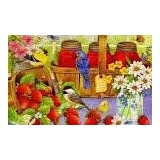 puzzles bird strawberries flowers butterfly basket Home Decoration Canvas Poster