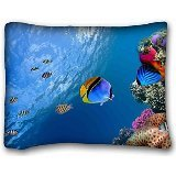 Price comparison product image Custom Cotton & Polyester Soft ( Animals Tropical Fish ) Standard Size Pillowcase for Hair & Facial Beauty Size 20x26 Inches suitable for California King-bed PC-Bluish-49514