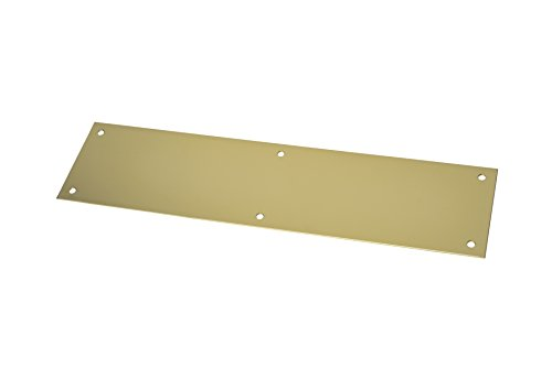 "Rockwood 70A.3 Brass Standard Push Plate, Four Beveled Edges, 12"" Height x 3"" Width x 0.050"" Thick, Polished Clear Coated Finish"