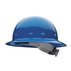 Fibre-Metal Blue Thermoplastic Full Brim Hard Hat - 8-Point Suspension - Tab Lok Adjustment - E1W71A000 [PRICE is per EACH] by Fibre-Metal Hard - Suspension Tab