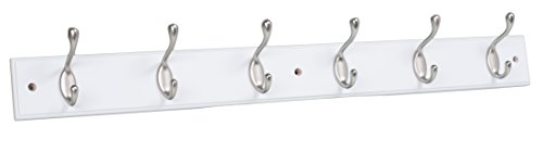BirdRock Home Hook Coat and Hat Rack | 6 Dual Hooks | 27 Inches | Wall Mount | Decorative Home Storage | Entryway Foyer Hallway Bathroom Bedroom Rail | Satin Nickel Hooks | White Pine Bathroom Rail - Pine Rails
