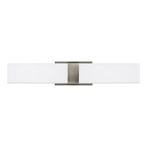 Sea Gull Lighting 4422991S-962 Vandeventer LED Bath or Wall Light Fixture with White Acrylic Shade, Brushed Nickel Finish