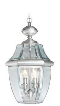 Livex Lighting 2255-91 Monterey 2 Light Outdoor Brushed Nickel Finish Solid Brass Hanging Lantern  with Clear Beveled Glass