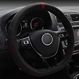 - FULL WERK D Type Fashionable Microfiber Leather Steering Wheel Cover Sporty Style, Durable, Anti-Slip, 15