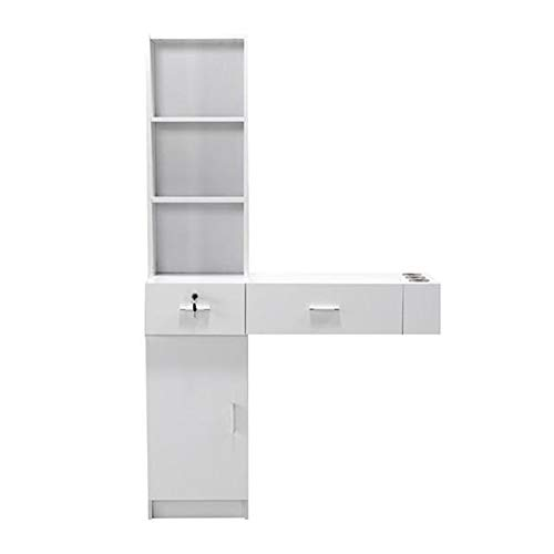 Wilbur Charley Wall Mount Hair Styling Station Desk Hair Salon Equipment Set Beauty Salon Spa Mirrors Station Furniture Barber Station Storage Shelf Cabinet Dressing Table with Drawers (White)