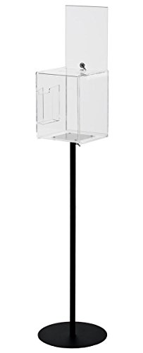 Displays2go Floor Standing Ballots Box with Side Pocket for Entry forms and Sign Holders, Clear Acrylic Box with Black Steel Pedestal Stand ()