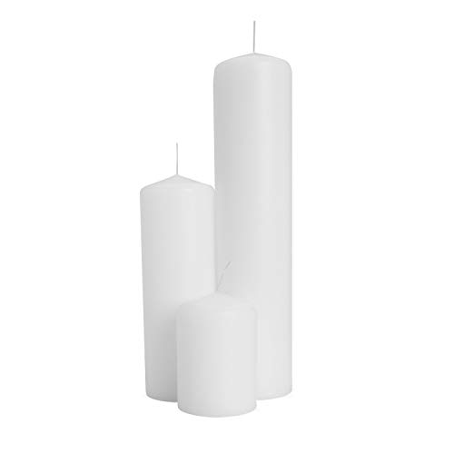 - Royal Imports 1 Set of 2 Pillar Candles (3 Candles) for Wedding, Birthday, Holiday & Home Decoration, 2x3, 2x6, 2x9, White Wax
