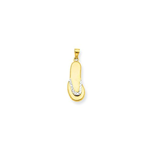 Diamond2Deal 10k Yellow Gold and Rhodium Plated Flip Flop Pendant