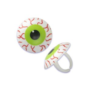 Oasis Supply - 24 Halloween Cupcake Cake Toppers plus Bonus Free Halloween Tattoos (Scary Eye-Ball Rings) -