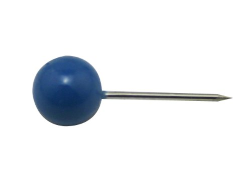 "Generic Map Pin Pushpin 0.24"" Round Head Color Deep Blue Pac"