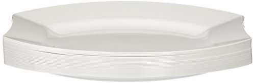 "Party Essentials 20-Count Hard Plastic 9.5"" Royalty Dinnerware Oval Lunch/Dinner Plates, White from Party Essentials"