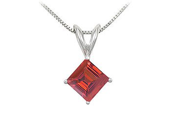 Created Ruby Solitaire Pendant 925 Sterling Silver 1.00 CT TGW