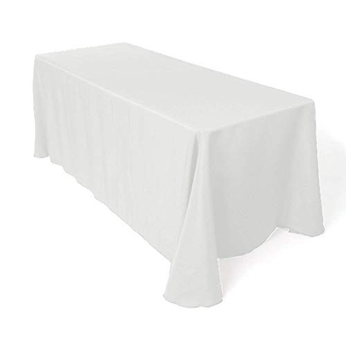 Craft And Party Premium Polyester Tablecloth - for Wedding, Restaurant or Banquet use (White, 90