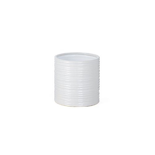 Torre & Tagus 901460 Ripple Ceramic Cylinder Vase, Short, White