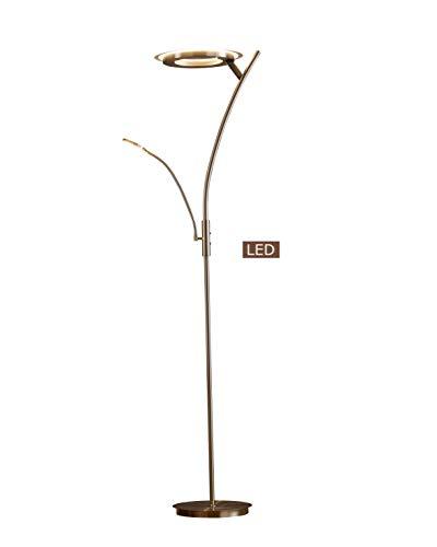 Halogen Nickel Lamp Floor Satin - Artiva USA LED804188FRN Lumineux LED Torchiere Floor Lamp with Reading Light, 71