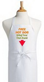 Blazers Proforms Costumes - Free Hot Dog - Bring Your Own Buns! Funny Cooking Apron White Bib Chef Aprons