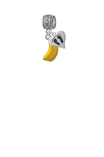 3-D Yellow Enamel Bananas Congratulations Charm Hanger with Mini Baby Feet Heart