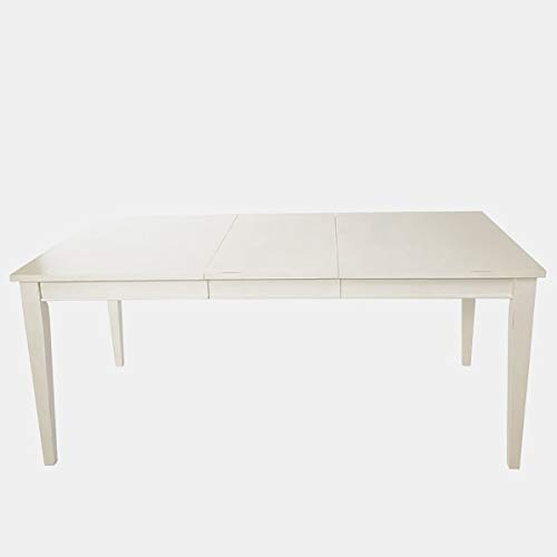 40' Drop Leaf Table - Wood Rectangle Silhouette Dining Table - Extendable Dining Table with Butterfly Leaf - Rubbed Linen White
