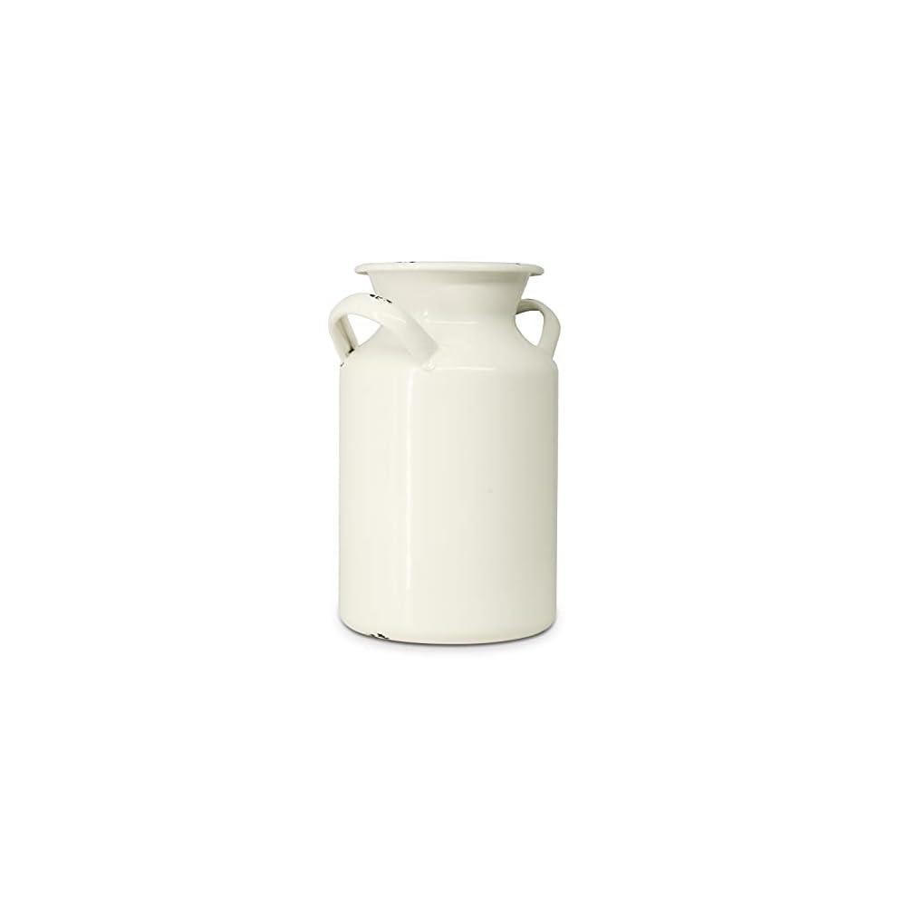 Putuo Decor Distressed White Decorative Metal Flower Vase, Vintage Farmhouse Ceramic Look Milk Can, Decorative…