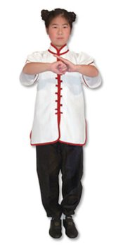 White Kungfu Uniform with Red Interloop Top