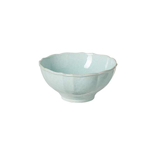 "Casafina Stoneware Ceramic Impressions Collection Small Serving Bowl D7.5"" H3.75"" 41oz. Robins Egg Blue"