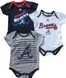 Atlanta Braves Baby / Infant Triple Play II 3 Piece Creeper Set 6-9 Months
