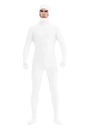 Treasure-box-Unisex-Dancewear-Unitard-Lycra-Spandex-Zentai-with-Face-Open-L-White