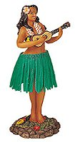 Leilani Dashboard Green Skirt Hula Doll Playing Ukulele