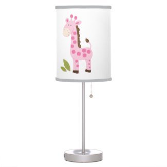 Giraffe Trim - Pink Giraffe Girl Nursery Lamp white background with gray trim