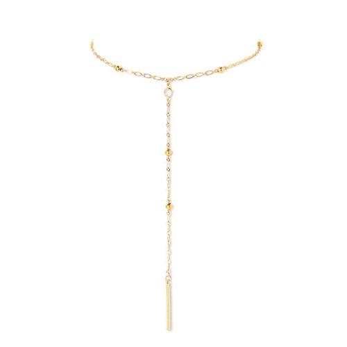 Ettika Golden Days Gold Tone Lariat Bar Drop Necklace