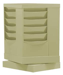 Durham 409-75, Tan 20 Pocket Rotary Literature Rack, 14.13