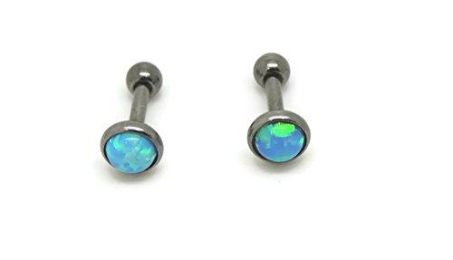 Opal 5 mm, Titanium Hypoallergenic Bezel Stud Earrings , For Sensitive Ears (Blue)